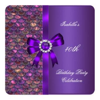 40.o Diamante de la púrpura del rosa de las Invitación 13,3 Cm X 13,3cm