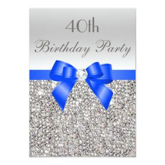 40.o Diamante de plata del arco del azul real de Invitación 12,7 X 17,8 Cm