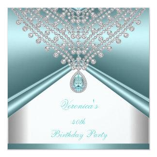 40.o Diamantes blancos azules del trullo de la Invitación 13,3 Cm X 13,3cm