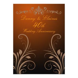 40.o El aniversario de boda invita Invitación 13,9 X 19,0 Cm