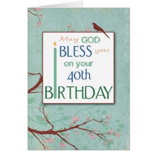 40.o El cumpleaños, le bendice, religioso Tarjeta De Felicitación