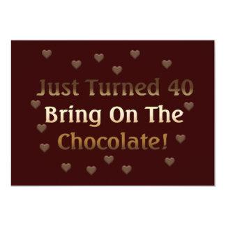 40.o El cumpleaños significa el chocolate Invitación 12,7 X 17,8 Cm