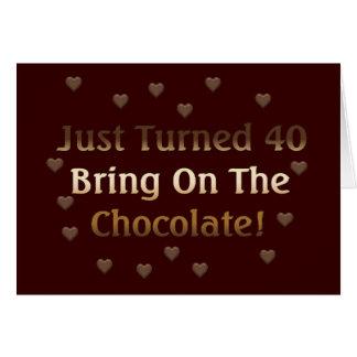 40.o El cumpleaños significa el chocolate Tarjeta De Felicitación