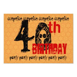 40.o El negro rojo del oro del cumpleaños de la Invitación 12,7 X 17,8 Cm