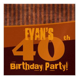 40 o El oro Brown de la fiesta de cumpleaños raya Anuncios Personalizados