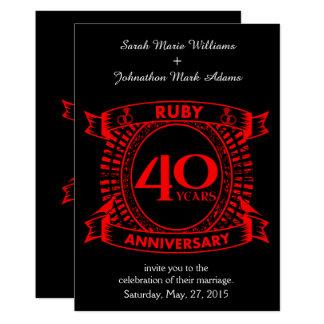 40.o escudo del rubí del aniversario de boda invitación 12,7 x 17,8 cm