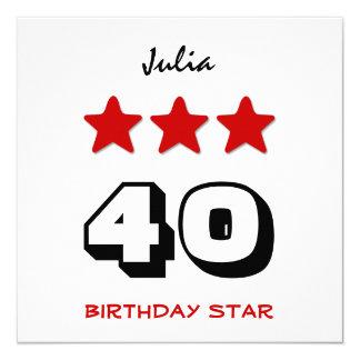 40.o Estrella Q02 blanco y negro rojo del Invitación 13,3 Cm X 13,3cm