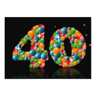 40.o Fiesta de cumpleaños, con las burbujas y las Invitación 12,7 X 17,8 Cm