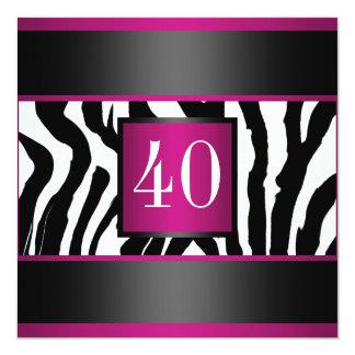 40.o Fiesta de cumpleaños de la cebra Invitación 13,3 Cm X 13,3cm