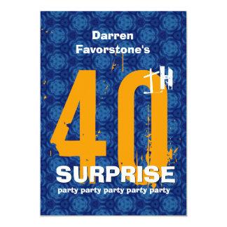40.o Fiesta de cumpleaños de la SORPRESA Invitación 12,7 X 17,8 Cm