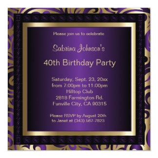 40.o Fiesta de cumpleaños el | púrpura y oro Invitación 13,3 Cm X 13,3cm
