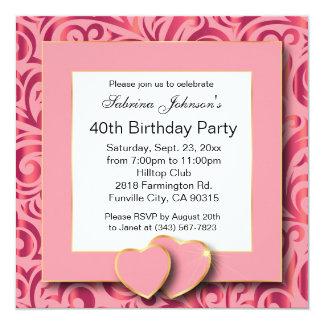 40.o Fiesta de cumpleaños Invitación 13,3 Cm X 13,3cm