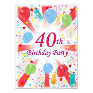 40.o Fiesta de cumpleaños Invitación 16,5 X 22,2 Cm