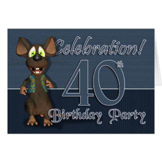 40.o Fiesta de cumpleaños Invitaion - ratón de la Tarjeta De Felicitación