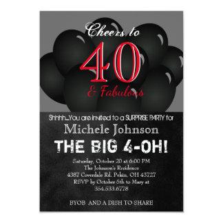 40.o Fiesta de cumpleaños negra del globo Invitación 12,7 X 17,8 Cm