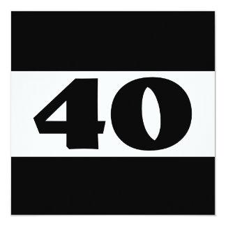 40.o Fiesta de cumpleaños W857 moderno blanco y Invitación 13,3 Cm X 13,3cm