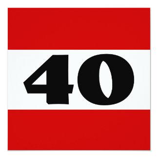 40.o Fiesta de cumpleaños W872 moderno blanco Invitación 13,3 Cm X 13,3cm