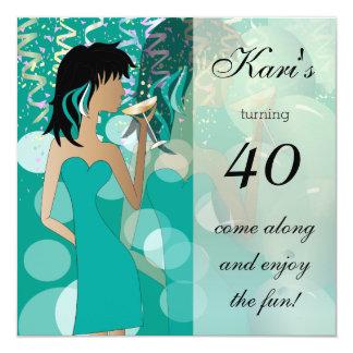 40.o Fiesta del golpe del cumpleaños Invitación 13,3 Cm X 13,3cm
