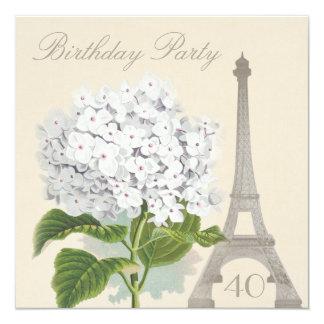 40.o Flor blanca del Hydrangea del vintage de Invitación 13,3 Cm X 13,3cm