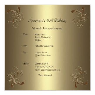 40.o floral del oro de la fiesta de cumpleaños invitación 13,3 cm x 13,3cm