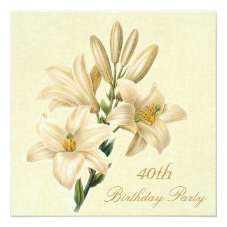 40.o Flores elegantes del lirio del vintage de la Invitación 13,3 Cm X 13,3cm
