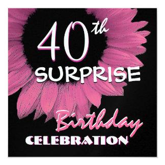 40.o Girasol 001 del rosa del cumpleaños de la Invitación 13,3 Cm X 13,3cm