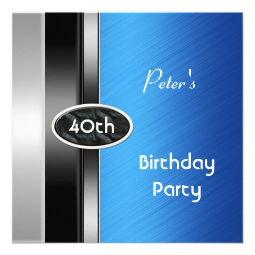 40.o hombre para hombre azul de plata de la fiesta invitación personalizada