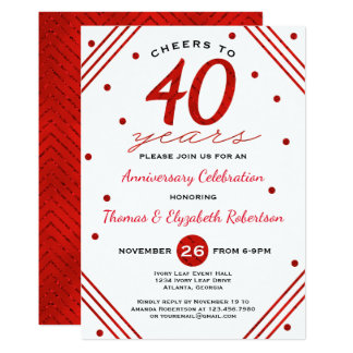40.o Invitación de la fiesta de aniversario, rubí