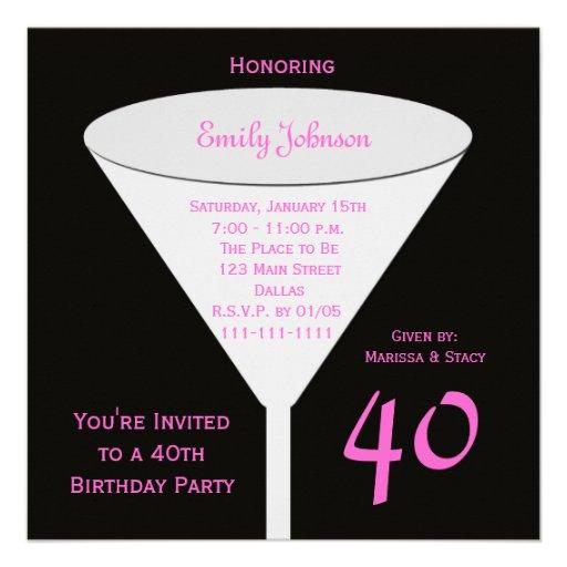 40.o Invitación de la fiesta de cumpleaños -- 40.o