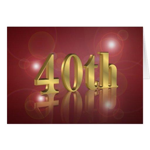 40.o Invitación de la fiesta de cumpleaños Tarjetas
