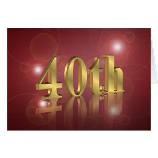 40.o Invitación de la fiesta de cumpleaños Tarjeta Pequeña