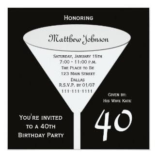 40.o Invitación de la fiesta de cumpleaños una