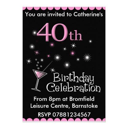 40.o Invitación de la fiesta de cumpleaños - vidri