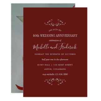 40.o Invitación de rubíes del aniversario de boda