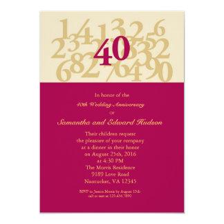 40.o Invitación de rubíes del aniversario de boda Invitación 12,7 X 17,8 Cm