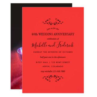 40.o Invitación de rubíes del rosa rojo del