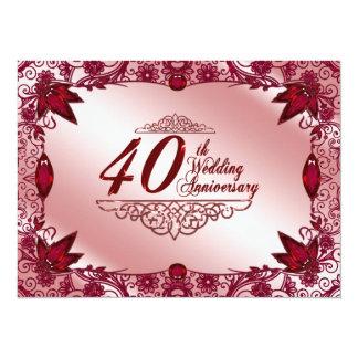 40.o Invitación del aniversario de boda Invitación 13,9 X 19,0 Cm