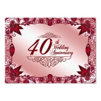 40.o Invitación del aniversario de boda Invitación 11,4 X 15,8 Cm