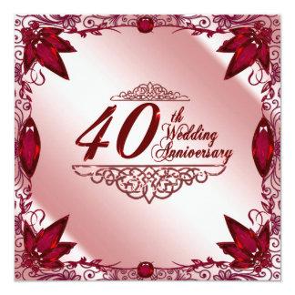 40.o Invitación del aniversario de boda Invitación 13,3 Cm X 13,3cm