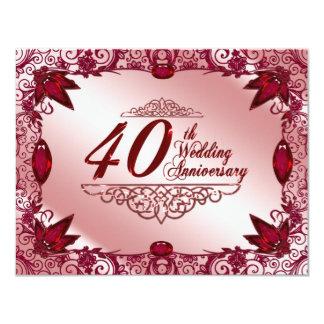 40.o Invitación del aniversario de boda Invitación 10,8 X 13,9 Cm