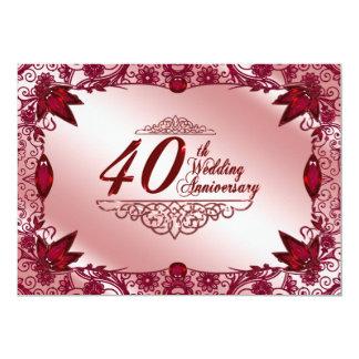 40.o Invitación del aniversario de boda Invitación 12,7 X 17,8 Cm