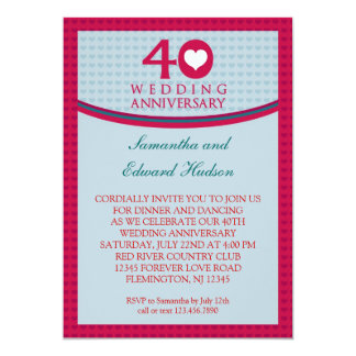 40.o Invitación del aniversario de boda del Invitación 12,7 X 17,8 Cm