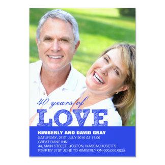 40.o Invitación del aniversario de boda en azul Invitación 12,7 X 17,8 Cm