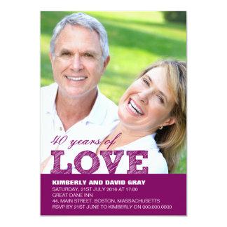 40.o Invitación del aniversario de boda en púrpura Invitación 12,7 X 17,8 Cm