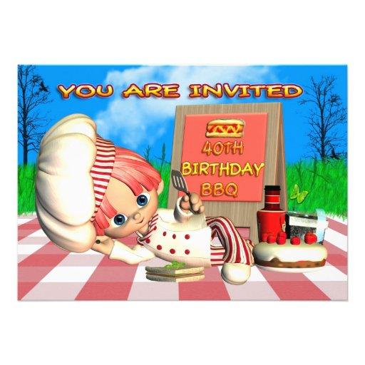 40.o Invitación del Bbq del cumpleaños