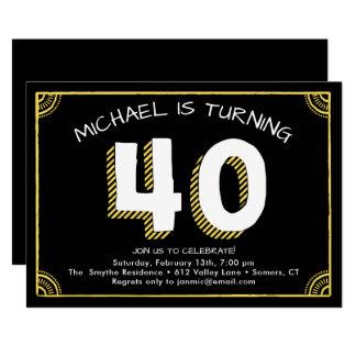 40.o Invitación del cumpleaños, amarilla