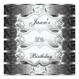 40.o Invitación metálica de plata del cumpleaños