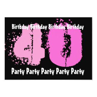 40.o Invitación rosada y negra de la fiesta de