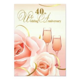 40.o Invitaciones de la fiesta de aniversario del Invitación 12,7 X 17,8 Cm