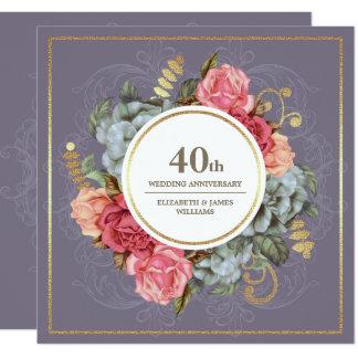 40.o Invitaciones de la fiesta de aniversario del Invitación 13,3 Cm X 13,3cm